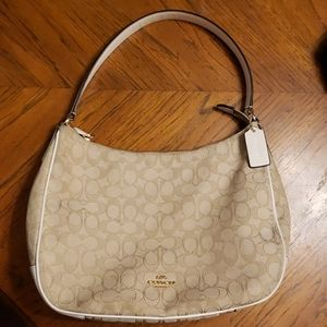 Coach Zip Shoulder Bag Light Khaki